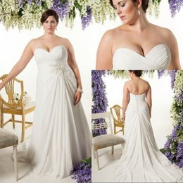 Custom Made A Line Sweetheart Plus Size Wedding Dresses Chapel Train Ivory Chiffon Beach Wedding Gowns Bridal Appliques
