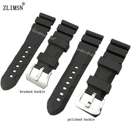 Black Diving Silicone Rubber Watch 26mm for PANERAI Men BAND Strap With Pin Buckle