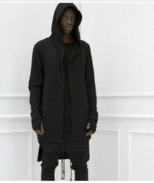 2016 fashion streetwear urban hoodie hip hop jacket white Black men's coat extended cape hoodie mens hooded cloak M-3XL