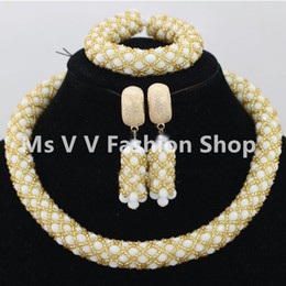 white gold african beads necklace fashion jewelry earrings set in Europe & the United States wedding accessories fashion earrings jewelry
