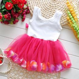 Toddler Girls Dress Rose Flower Colorful petals Gauze Baby Tutu Dresses Sleeveless Kids Vest Princess Dress Costumes Summer