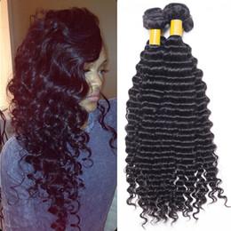 Descuento teñidos haces de pelo de malasia Puede ser teñido Productos de pelo indios malayos peruanos Onda profunda brasileña del pelo humano rizada 3 paquetes /