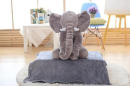 Wholesale Elephant Baby Sleeping Pillow Blanket Elephant Plush Toys Dolls INS Elephant Stuffed Animal Toys Elephant Throw Pillow