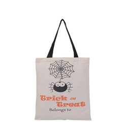 Wholesale 2016 Halloween Shopping Bag Trick or Treat Spider Printed Canvas Bag Children Fancy Party Festival Tote