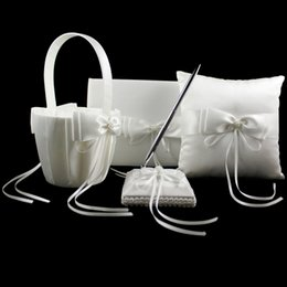 Wholesale Silk Wedding Guest Book - 4pcs set Ivory Ring Pillow Set with Beads and Silk Ribbon Bowknot Pen Stand Flower Basket Guest Book Ring Pillow for Wedding Party