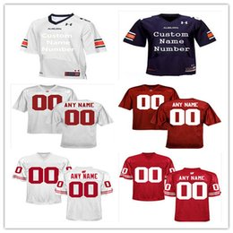 Wholesale Custom Alabama Crimson Tide Auburn Tigers Wisconsin Badgers Men s College Football Jersey Red White Blue All Logos Stitched