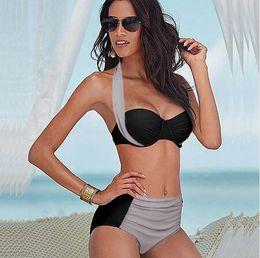 2016 Sexy Plus Size Swimwear High Waist Bikinis Set Top Push Up Strapless Halter Surf Flirt Bathing Suit Beach Wear