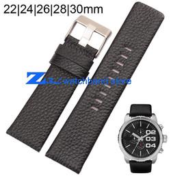 2017 bracelet en cuir véritable Gros-Véritable Bracelet en cuir bracelet noir accessoires 22mm 24mm 26mm 28mm 30mm poignet bracelet souple et confortable peu coûteux bracelet en cuir véritable