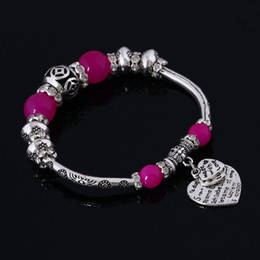 Tibetan Thick Silver Plating Charms Bead Bracelets New Crystal Bangle Beautiful Flower Love Heart Bracelet 10 Colors for Choose