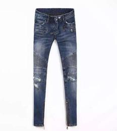 Wholesale Skinny Jeans Korean Style - Fashion 2016 New Brand Skinny Hole High Waist Jeans Woman Korean Slim Thin Pencil Pants Capris Blue Plus Size Ripped balmain Jeans
