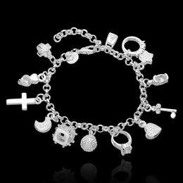 Compra Online Broches para los encantos-Pulseras plateadas de la plata esterlina 925 de la manera pulseras más pulseras de los colgantes corazón cruzado estrella dominante del anillo ajustable corchetes de la joyería de la langosta