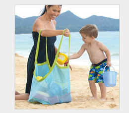 Wholesale Green Blue Children Travel Foldable Multifunctional Sand Beach Bags Extra Large Mesh Nylon Oxford Toy Storage Bag Baby Collection Bags