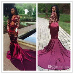2016 New Sexy Burgundy Long Sleeves Muslim Evening Dresses Mermaid V Neck Lace Sheer Arabic Dubai African Formal Prom Dress Evening Wear
