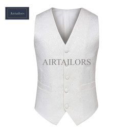 2018 Airtailors Mens Suit Vests White Floral Blazer Designs Slim Groom Vests Prom Custom Made Wedding Vest Waistcoat Men