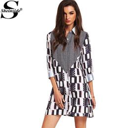 Wholesale Beautiful Women Clothing Vintage Shirt Dresses Black White Abstract Print Side Slit Shift Dresses