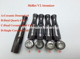 Wholesale Puffco Vaporizer Skillet V2 Atomizer Quartz Wax Vaporizer Ceramic Donut Dual quartz Coil Gun Metal Color Metal Drip Tip for battery
