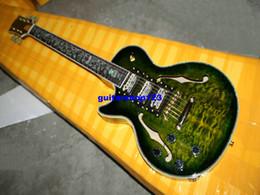 2017 guitarra de la mano izquierda verde Nueva llegada Guitarra zurda verde al por mayor de la explosión de Guitarra Eléctrica Hollow 3 Pastillas guitarra del jazz guitarra de la mano izquierda verde baratos