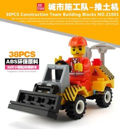 Wholesale Best selling Urban construction project Mini Engineering vehicle Forklift bulldozer Drill car truck building block