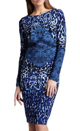 Fashion Print Women Sheath Dress Elegant Long Sleeve Dresses 064A614