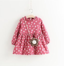 Girls Floral Print Dresses Plus Fleece Winter 17 Kids Clothes for Boutique 2-7Y Girls Long Sleeves Thicken Dresses with Bag