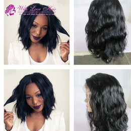 Indian Human Hair Short Bob Wigs Body Wave Wavy Lace Front Wigs Glueless Full Lace Human Hair Bob Wigs 130% Density Bleached Knots