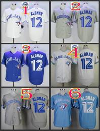 Wholesale Majestic - 2016 Majestic Official Cool Base MLB Stitched 40th Season Toronto Blue Jays #12 Roberto Alomar White BLue Gray Throwback Jerseys Mix Order