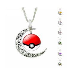 Wholesale Anime game GO Pikachu Elf Ball Glass Cabochon Pendant Necklaces Art Picture jewelry gift for girl TOP1366
