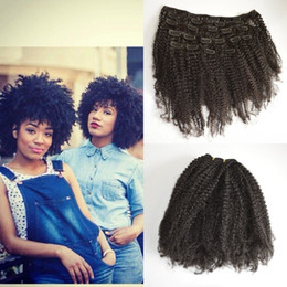 """8""""-24"""" Mongolian Virgin Remy Hair afro kinky curly Clips In Human Hair Extensions Full head 7pcs Set 120g G-EASY"""