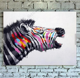 Framed Free Shipping Cute Zebra,Pure Hand Painted Animal Art Oil Painting On High Quality Canvas.Multi Sizes Available springgalle