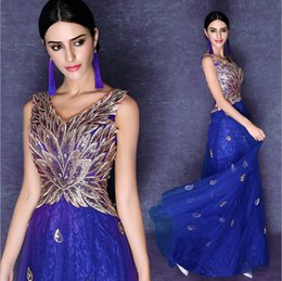 2016 New Grace Royal Blue Long Evening Dress V Collar Sequineds Peacock Pattern Embroidery Luxury Prom Party Dress
