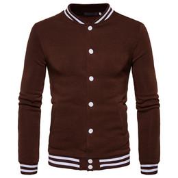 Free Shipping 2017 New Fashion Men's Striped Sweater Cuffs Hit Color Button Jacket Sweater Baseball Uniform