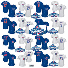 Wholesale 2016 World Series Champions patch Chicago Cubs Womens Javier Baez Kris Bryant Anthony Rizzo David Ross Baseball Jersey Stitched