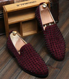 Wholesale Studded Shoes Wholesale - 2016HOTsale brand new free shipping Fashion Mens Punk Studded Rivet Spike Suede Pointy Loafer Casual Dress Shoes EU size 38-43