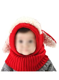 Wholesale-KSFS Lovely Baby Girl Boy Knitted Crochet Winter Hats Puppy Dog Beanie Caps Red