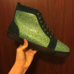 Top Sale! Genuine Leather Green Rhinestone Crystals Diamond Strass Mens Shoes Brand Fashion Luxury Casual Flats Women Men Lovers Sneakers