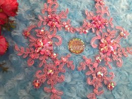 Handmade crystal sequins Rhinestones patches sew on Pink lace applique Delicate embroidered 23*10cm for top dress