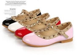 Wholesale-Free Shipping! Fashion Brand Girls Baby Toddler Patent Leather Rivet Flats Dress Shoes Peep Toe Sandals Black White Pink Red