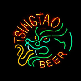 TSINGTAO BEER Real Glass Neon Light Sign Home Beer Bar Pub Recreation Room Game Room Windows Garage Wall Sign