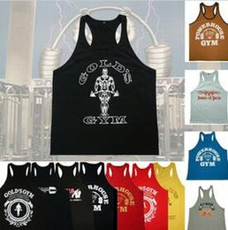 Tops sport homme sans manches en Ligne-Cotton Singlets Muscle Tops Golds Gym Stringer Tank Top Hommes Bodybuilding Vêtements et Fitness Chemise sans manches pour homme Sports Vests hight quali