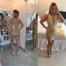 Wholesale 2016 Barbara Melo Lace Sheath Short Prom Dresses Sleeveless Deep V Neck Lace Appliqur bodice and Sheer Back with Button Back Prom Dresses