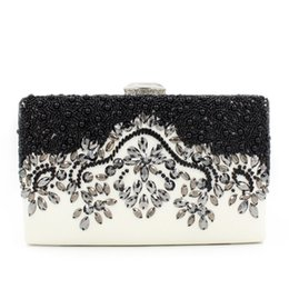 Women Evening Clutches PU Leather Women Clutch Handbags High-grade Rhinestone Ladies Banquet Bag Beading Evening Bags
