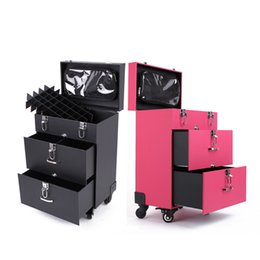 Wholesale 3 stands make up box color luggage carrier pu storage box with makeup bag trolley case draw bar box for professional lady makeup use