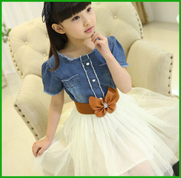 korean girls dresses denim bow white short tops casual lovely lace floral o-neck layered tutu sundress children vestidos free shipping
