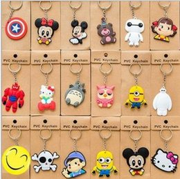 Wholesale keychains Despicable Me2 key chains Minions Action Figure cartoon key ring Keyring Key Ring Cute Three dimensional soft rubber key chain toy