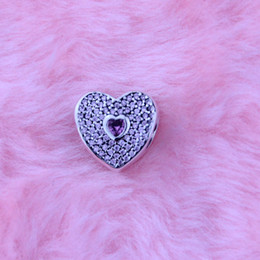 Loose beads Fit for Pandora Bracelets Authentic 100% 925 Sterling Silver Beads Heart silver charm with fancy pink and pink cubic zirconia