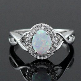 Wholesale OPAL New Style Retail x8MM Oval White Fire Opal AAA CZ Inlay Women Rings Size