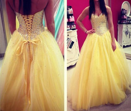 Yellow 2016 Wedding Dresses Ball Gown Cheap Sweetheart A-Line Beads Crystal Tulle Back Lace Up Vestidos de Formal Bridal Dresses