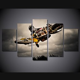 5 Piece Printed HD Printed Motocross riders Painting Canvas Print room decor print poster picture canvas Free shipping