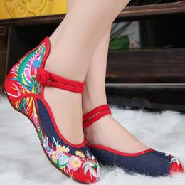 Broderie chaussures plates en Ligne-2016 Chaussures Femmes Chaussures Chaussures Vieux Peking Denim Chaussures Talon Plat Avec Broderie Soft Sole Chaussures Casual Chaussures De Danse Taille 35-41