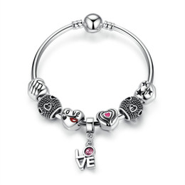 Vintage Pandora Style Beaded Charm Bracelets with Cut-out Heart Silver Charms &LOVE Dangles DIY Bangle Bracelets BL215
